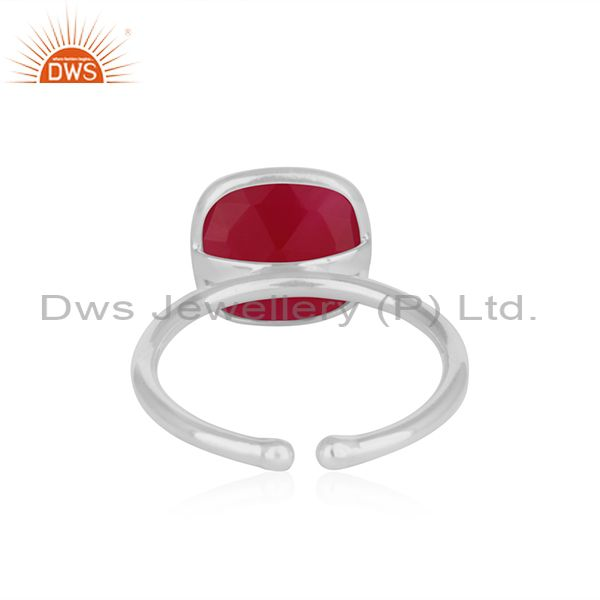 Wholesalers Bezel Set Pink Chalcedony Gemstone 925 Fine Silver Ring Manufacturer India