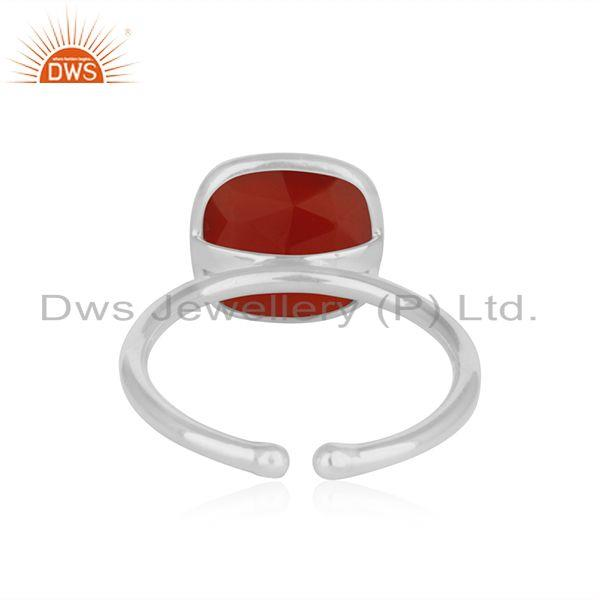 Wholesalers Red Onyx Gemstone Simple Design Fine Sterling Silver Ring Jewelry Supplier