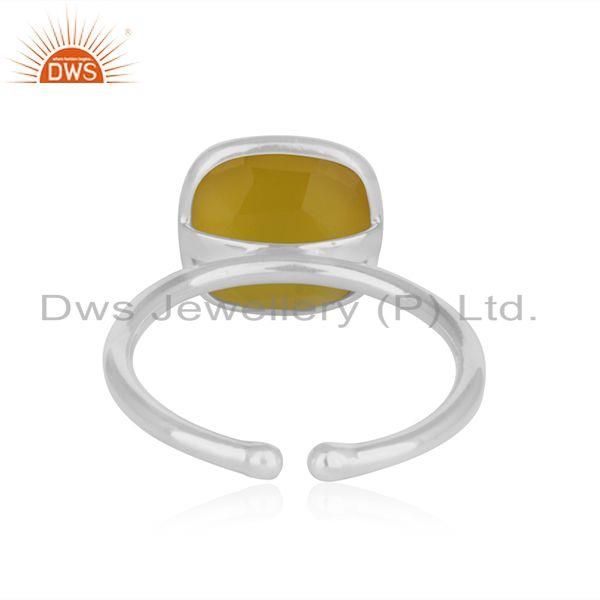 Wholesalers Yellow Chalcedony Simple Design 925 Fine Silver Unisex Ring Manufacturer Jaipur