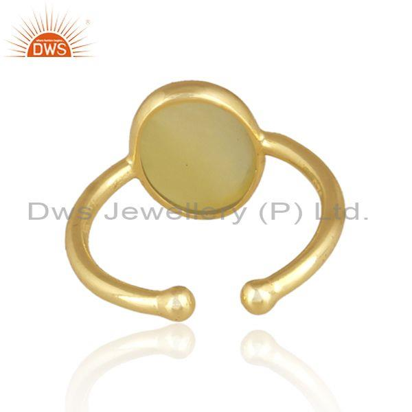 Yellow opal set gold on sterling 925 silver handmade ring