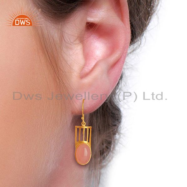 Designers Gold Plated Rose Chalcedony Gemstone Fashion Earrings Supplier