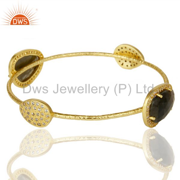 Manufacturer of Labrodorite free shape fashion bangle studded cz exclusive jewelry