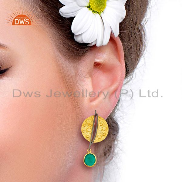 Designers Gold Plated Texture Designer Boutique Earring Green Onyx Fashion Jewelry