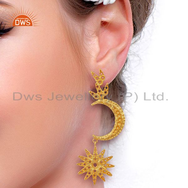 Designers Indian Traditional Moon Design Gold Plated Brass Fashion Earrings