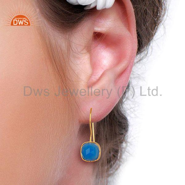 Designers Blue Gemstone Gold Plated Brass Fashion Earrings Manufacturer India
