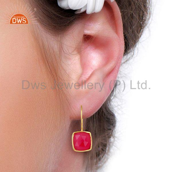 Designers Pink Chalcedony Gemstone Girls Gold Plated Silver Earrings Supplier