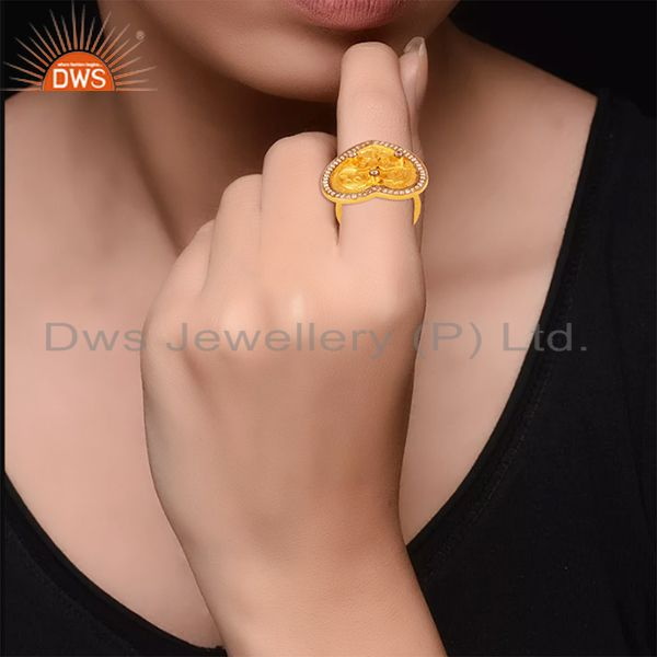 Designers 22K Yellow Gold Plated White Cubic Zirconia Heart Cocktail Stackable Ring