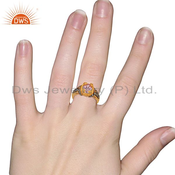 Designers 22K Yellow Gold Plated Brass Pink Cubic Zirconia Womens Fashion Ring