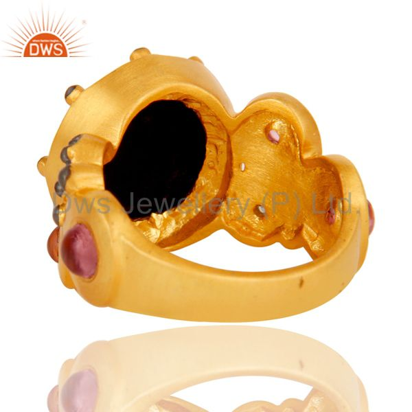 Designers 22K Matte Yellow Gold Plated Brass Black Onyx Designer Fashion Ring With CZ