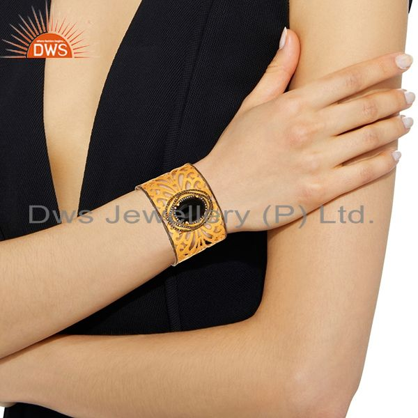 Designers Hand-crafted 18K Gold-Plated Brass Filigree Cuff Bracelet With Black Onyx & CZ