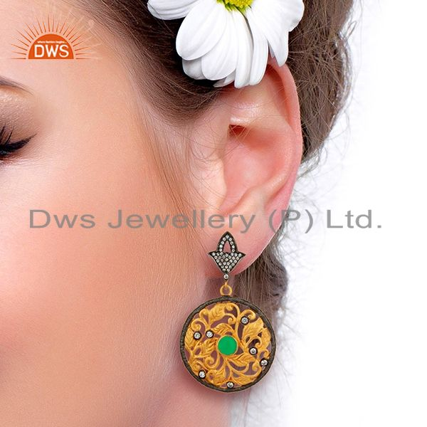 Designers 24K Yellow Gold Plated Green Tourmaline And CZ Leaf Design Dangle Earrings