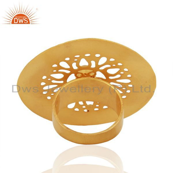 Designers Lemon Topaz And CZ 24K Yellow Gold Plated Brass Filigree Cocktail Fashion Ring