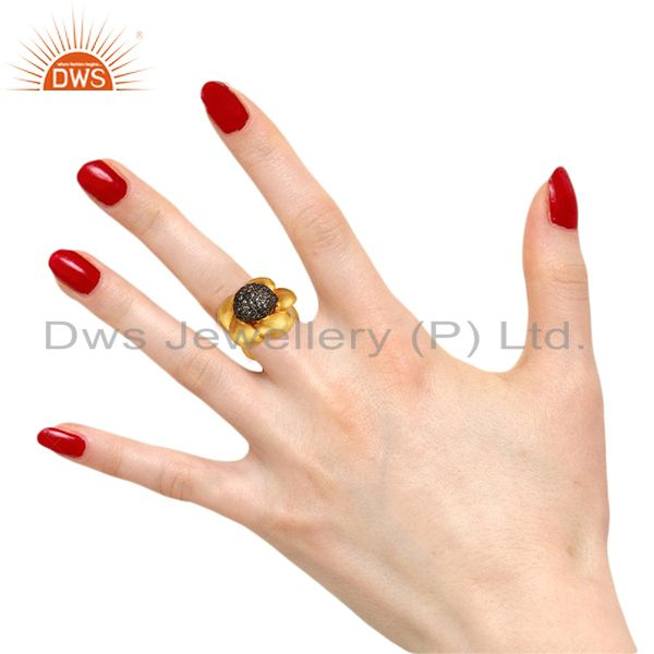 Designers 22K Yellow Gold Plated Brass Cubic Zirconia Designer Cocktail Ring