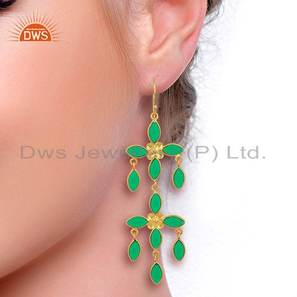 Designers Green Stone Handmade Long Dangle 14K Gold Plated Fashion Earring