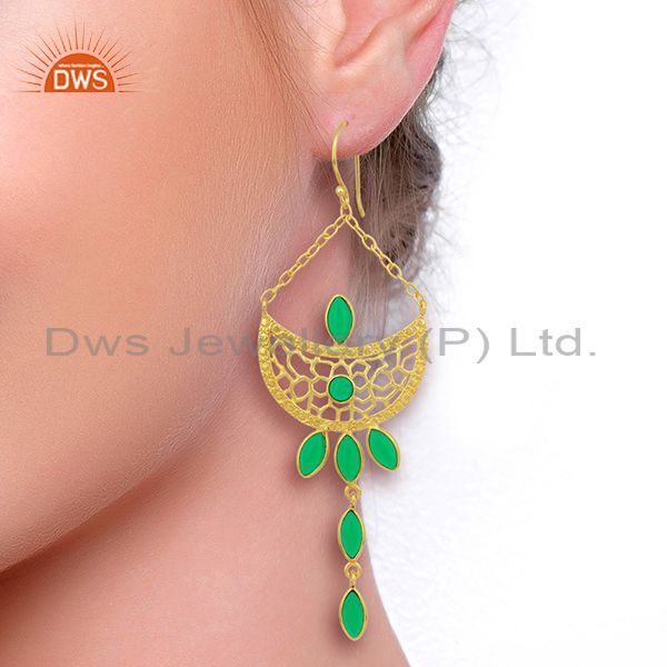 Designers Green Stone Long Filigreen 14K Gold Plated Fashion Earring