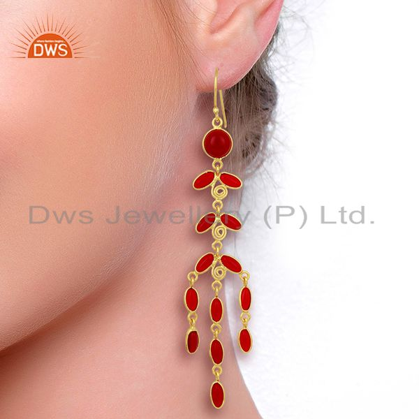 Designers Red Hydro Long Leaf Pattern Gold Plated Fashion Wholesale Jewelry
