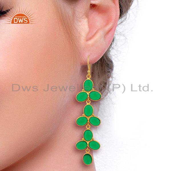 Designers Green Hydro flower Pattern Bezel 14K Gold Plated Fashion Wholesale Jewelry