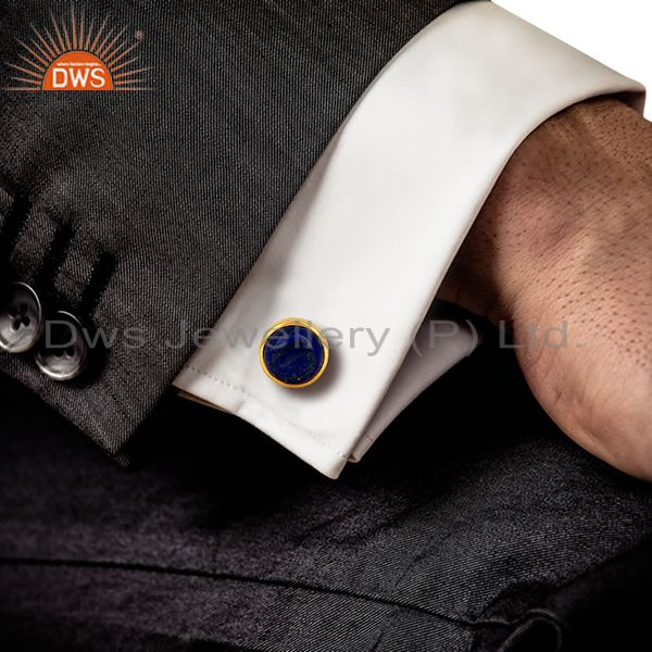 Designers Yellow Gold Plated  Lapis Gemstone Mens Cufflink Jewelry Manufacturer