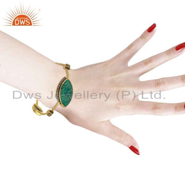 Manufacturer of Amazonite gemstone gold over womens brass bangle jewelry supplier