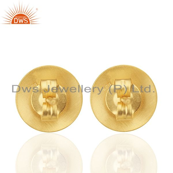 Designers 18K Yellow Gold Plated Sterling Silver Hammered Disc Designer Stud Earrings