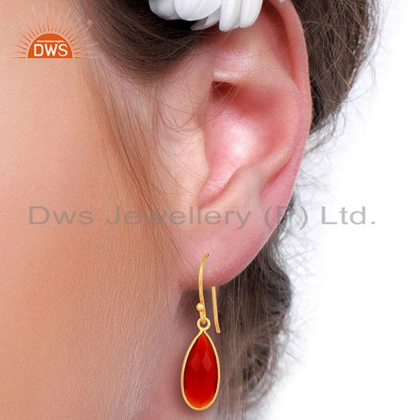 Designers Red Onyx Drop Bezel Set Gold Plated 92.5 Sterling Silver Earring
