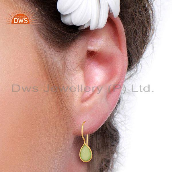 Designers Prehnite Chalcedony Pear Bezel Set Drop Gold Plated 92.5 Sterling Silver Earring