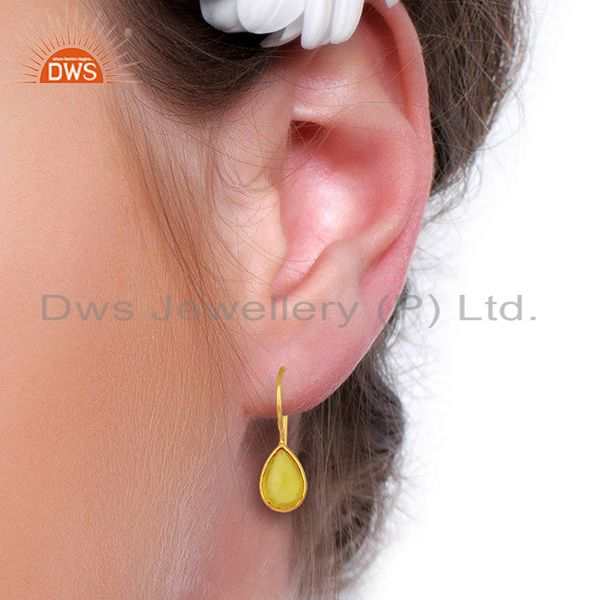 Designers Yellow Chalcedony Drop 14K Yellow Gold Plated Sterling Silver Earrings Jewelry