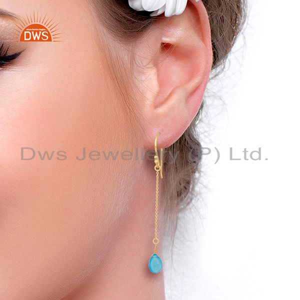 Designers Blue Chalcedony Simple Chain Gold Plated Wholesale Earring Jewelry