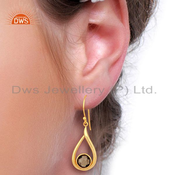 Designers Smoky Topaz Drop Shape Round Briolet Gold Plated 92.5 Sterlign Silver Earring