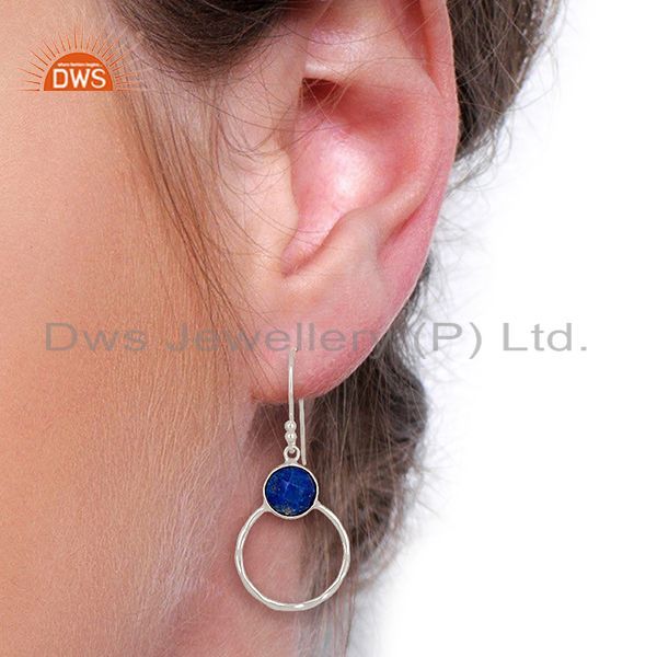 Designers Lapis Lazuli Vintage Double Circle Sterling Silver White Rhodium Plated Earring