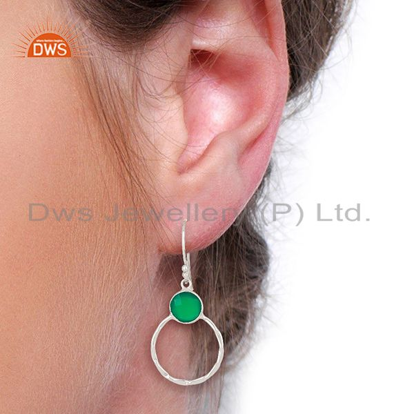 Designers Green Onyx Double Circle 925 Sterling Silver White Rhodium Plated Earring