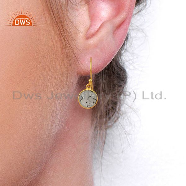 Designers Black Rutile Gemstone Gold Plated Silver Earrings Jewelry Supplier
