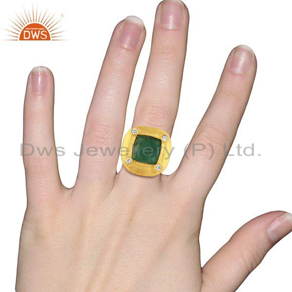 Designers CZ Amazonite Gemstone Gold Plated Stud Ring Jewelry Supplier