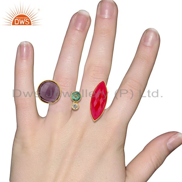 Designers Hydro Gemstone Gold Plated Brass Fashion Ring Jewelry Supplier