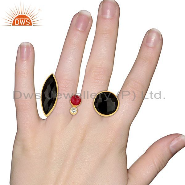 Designers 24K Yellow Gold Plated Brass Red Aventurine And Black Onyx Two Finger Ring