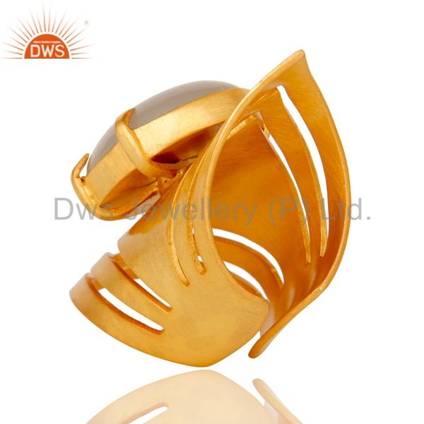Designers 22K Yellow Gold Plated Handmade Fashion Natural Chalcedony Brass Knuckle Ring