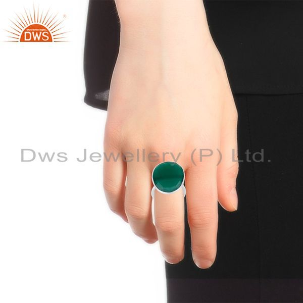 Designers Green Onyx Gemstone 925 Sterling Fine Silver Cocktail Ring Manufacturers