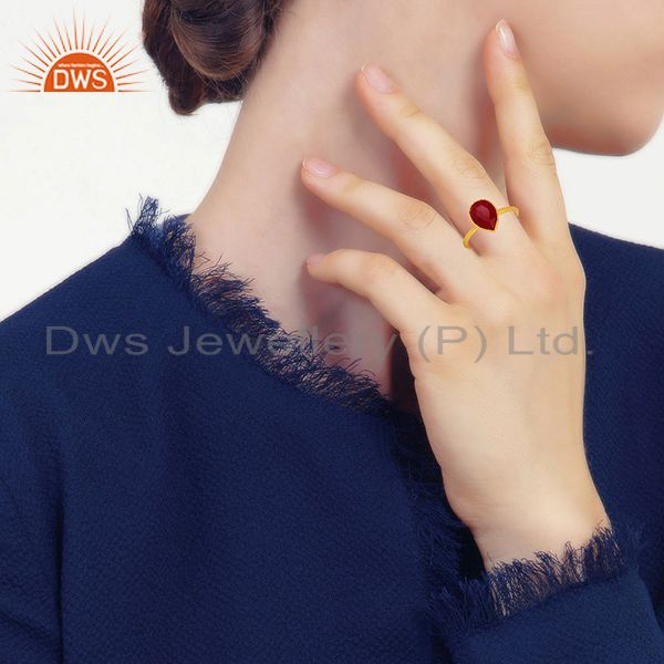 Designers Ruby Red Gemstone Gold Plated 925 Silver Rings Jewelry Manufacturer