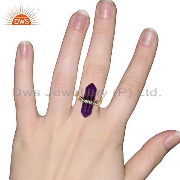 Designers Aventurine Gemstone CZ Gold Plated Fashion Ring Manufacturer Jewelry