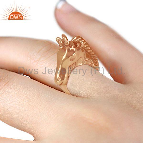 Designers Knuckle Giraffe 925 Sterling Silver Rose Gold Plated Ring Animal Jewellery