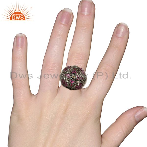 Designers Designer Vintage Style Rose Cut Diamond Party Wear Ring Ruby 18K Gold Jewelry