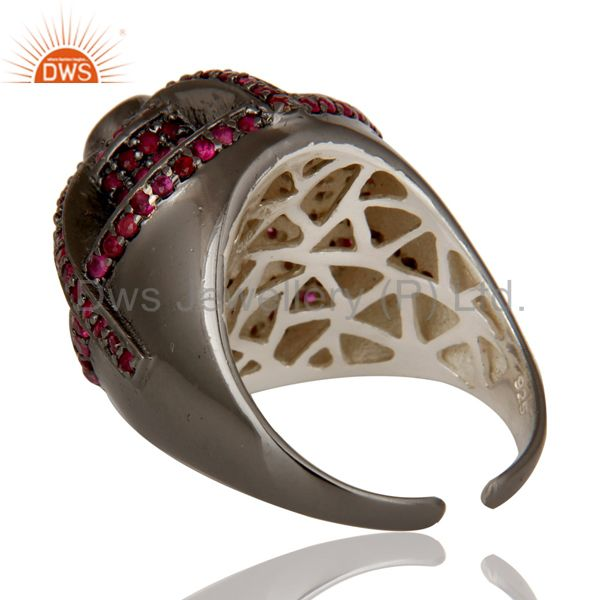 Designers Victorian Estate Style Pave Set Natural Ruby Gemstone Silver Dome Ring