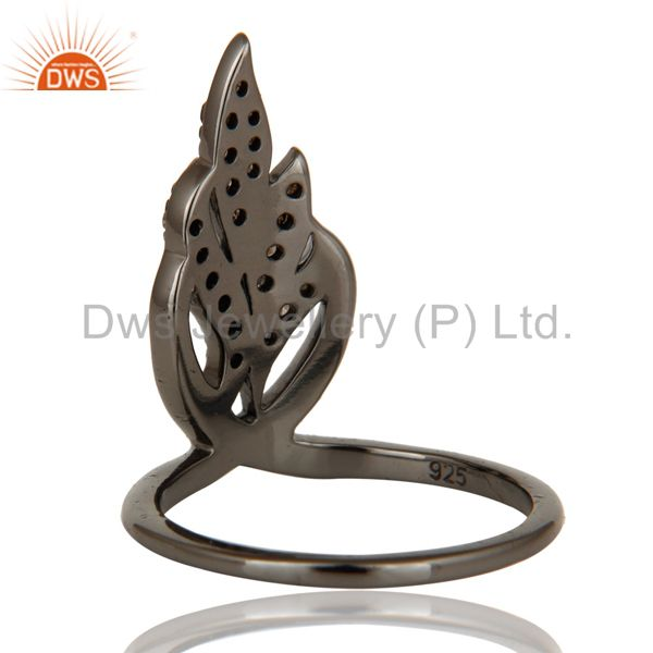Designers Oxidized Sterling Silver and Diamond Ring Beautiful Designer Jewelry