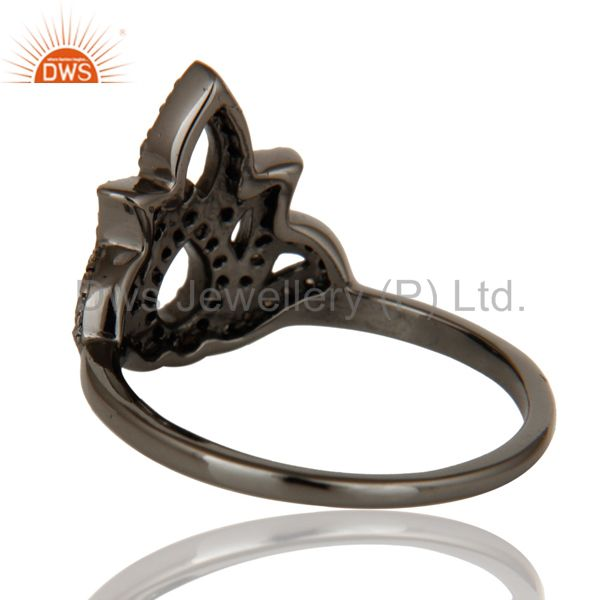 Designers Crown Design Diamond and Oxidized Sterling Silver Beautiful Ring