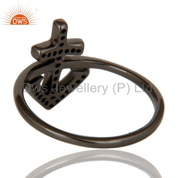 Designers Garnet and Oxidized Sterling Silver Cross Sign Statement Ring