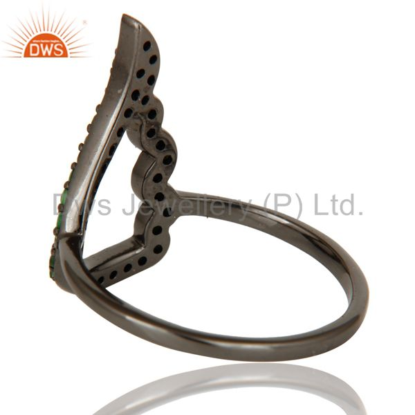 Designers Wing Style Tsavourite and Oxidized Sterling Silver Jewelry Ring