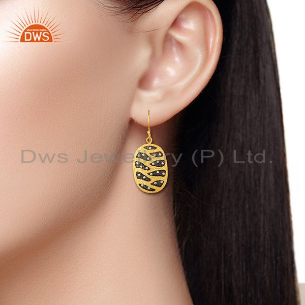 Designers White Zircon Gold Plated Brass Fashion Girls Earrings Manufacturers