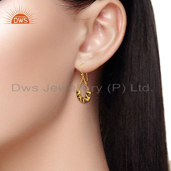 Designers Designer Gold Plated Cz Gemstone Brass Fashion Chain Earring Wholesale