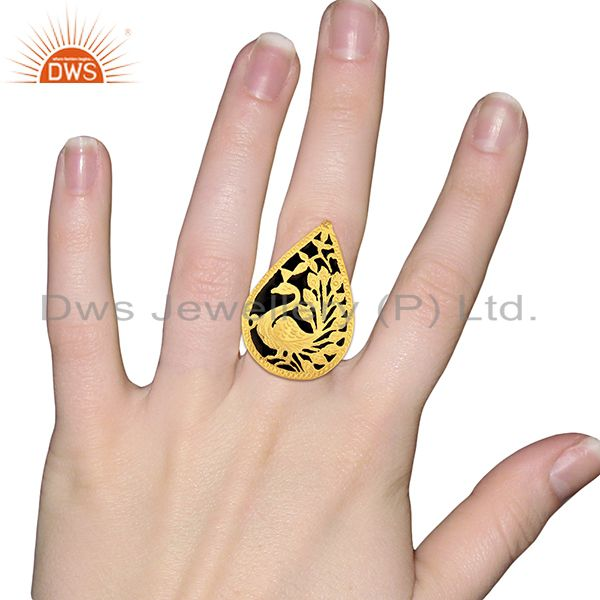 Designers Gold Plated Brass Fashion Designer Enamel Ring Jewelry Supplier