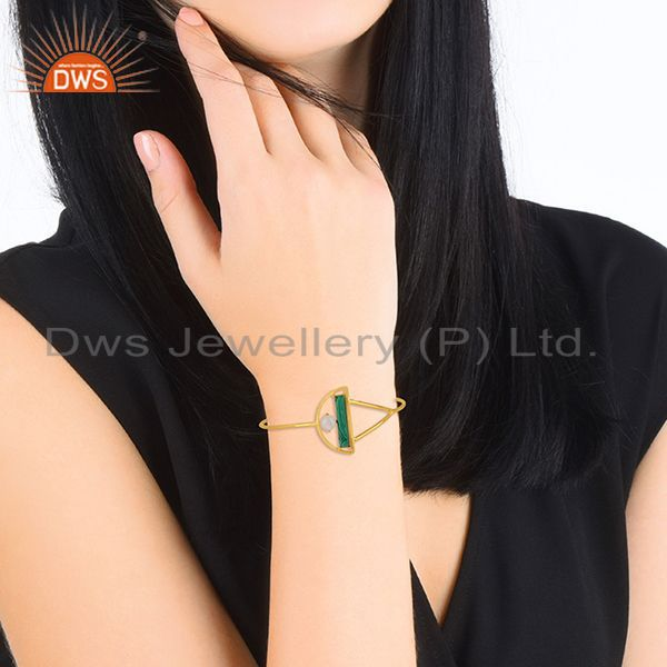 Designers Malachite and Moonstone Gold Plated 925 Silver Half Moon Cuff Bangle Wholesale